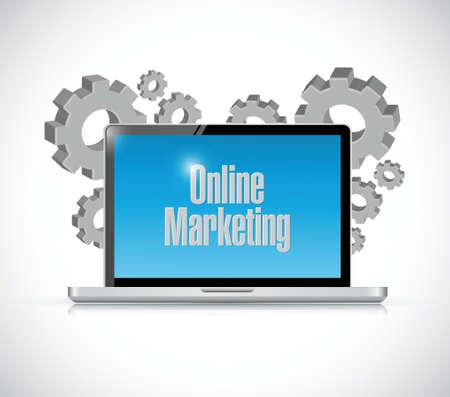 adwords: online marketing technology sign illustration design over white