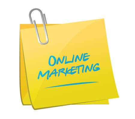 memo: online marketing memo post sign illustration design over white
