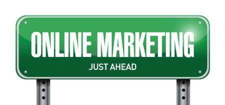 adwords: online marketing post sign illustration design over white Illustration