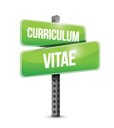 curriculum vitae: cv, curriculum vitae street sign concept illustration design over white