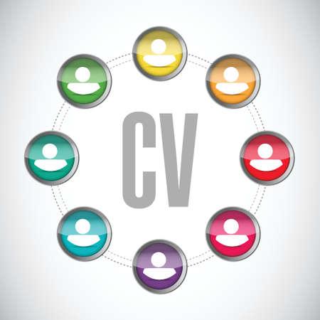 cv, curriculum vitae people sign concept illustration design over white Vectores