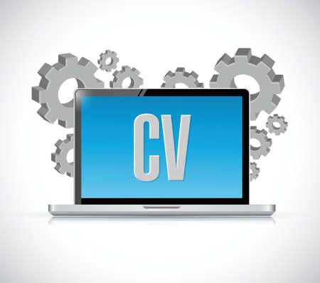 cv, curriculum vitae technology computer sign concept illustration design over white