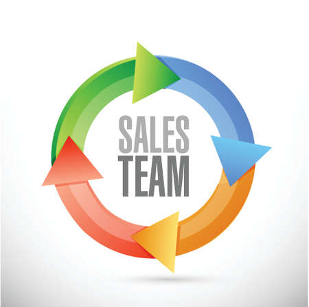 sales team: sales team cycle sign concept illustration design over white