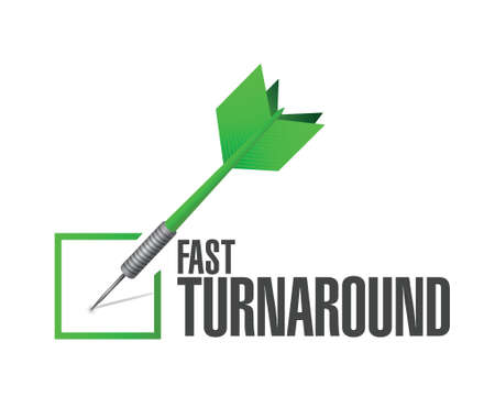 turnaround: fast turnaround check dart sign illustration design over white