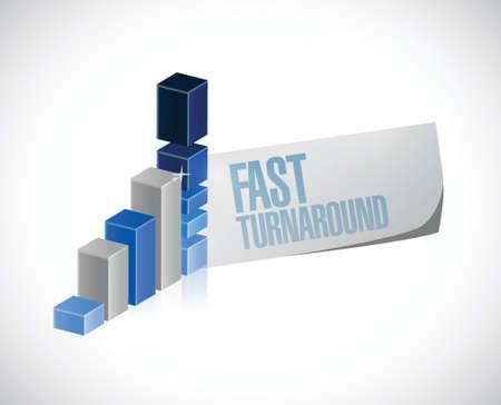 turnaround: fast turnaround business graph sign illustration design over white Illustration