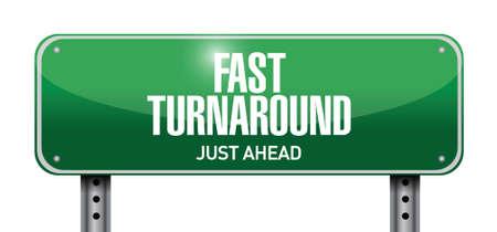 fast turnaround street sign illustration design over white