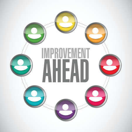 yield sign: improvement ahead people diagram sign illustration design over white Illustration