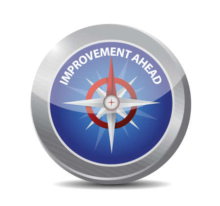 alertness: improvement ahead compass sign illustration design over white Illustration