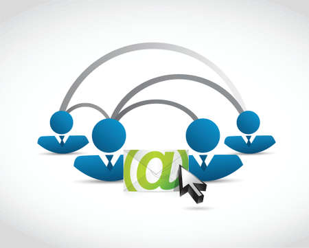 link work: email correspondence people connection illustration design over white background