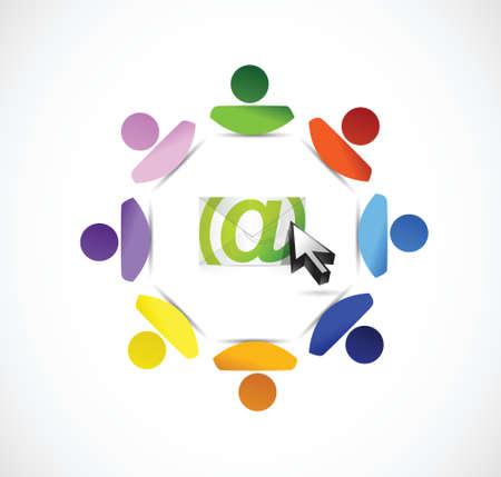 mensen kring: e-mail correspondentie mensen cirkel illustratie ontwerp op een witte achtergrond Stock Illustratie