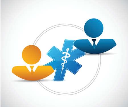 enfermera quirurgica: conexi�n de la gente y m�dica ilustraci�n del concepto de dise�o en blanco