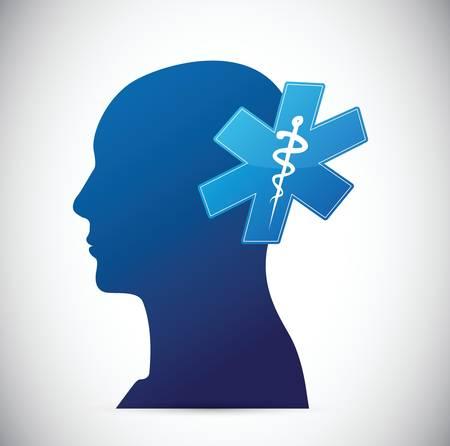 computerized: brain. medical concept illustration design over white