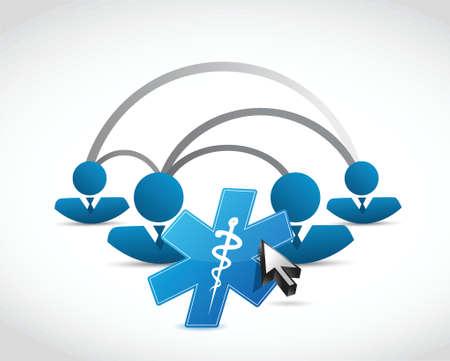 enfermera quirurgica: la gente de la red y s�mbolo m�dico concepto de dise�o ilustraci�n m�s de blanco Vectores