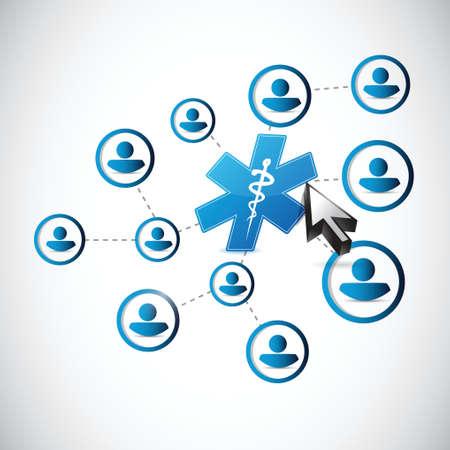 enfermera quirurgica: m�dica diagrama de la gente del s�mbolo vincula el concepto de dise�o ilustraci�n m�s de blanco