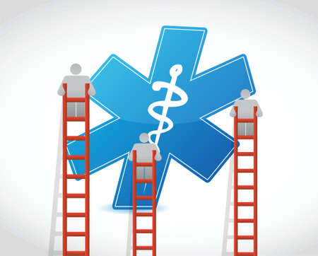 finding the cure: medical symbol and ladder illustration design over white