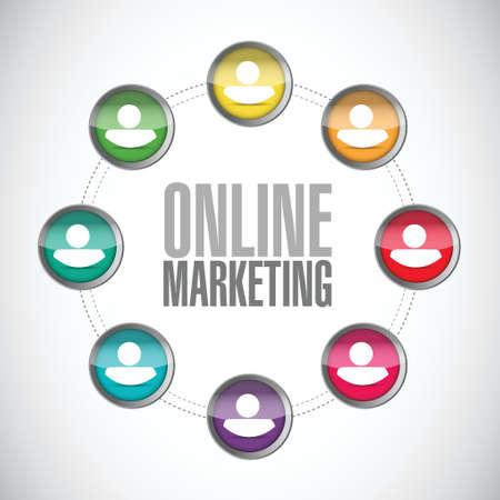 online marketing diversity markets sign illustration design over white