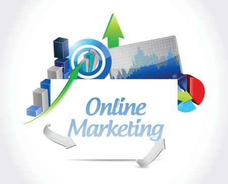 adwords: online marketing business graphs sign illustration design over white Illustration