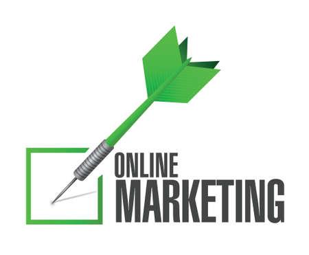 adwords: online marketing check cart sign illustration design over white