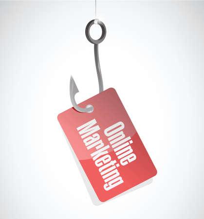 adwords: online marketing hook tag sign illustration design over white