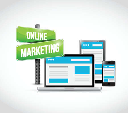 adwords: online marketing technology concept sign illustration design over white