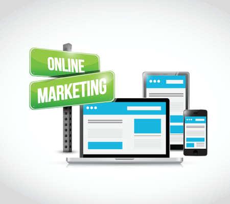 online marketing technology concept sign illustration design over white