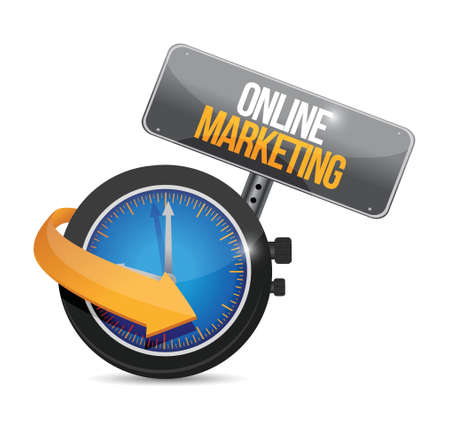 adwords: online marketing time concept sign illustration design over white