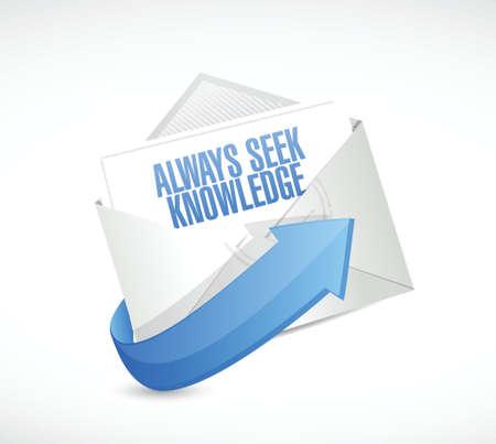 always seek knowledge mail sign concept illustration design over white