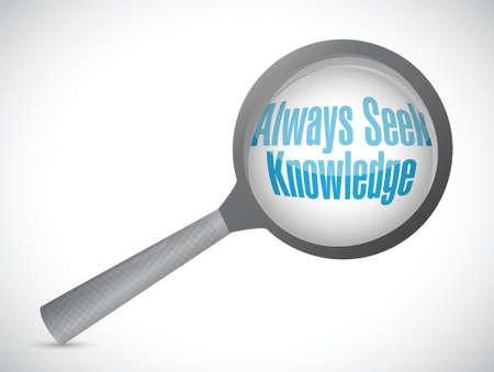 always: always seek knowledge magnify glass sign concept illustration design over white