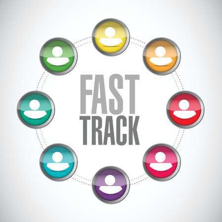 fast track people diagram sign concept illustration design over white