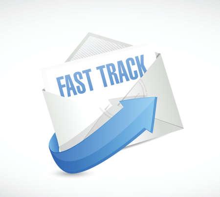 fast track envelope sign concept illustration design over white Stock Illustratie