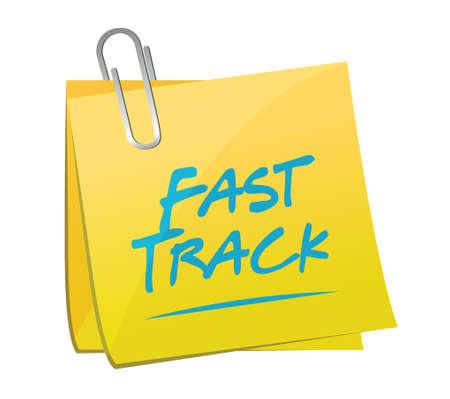 quick money: fast track memo post sign concept illustration design over white