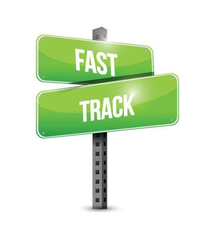 quick money: fast track road sign concept illustration design over white