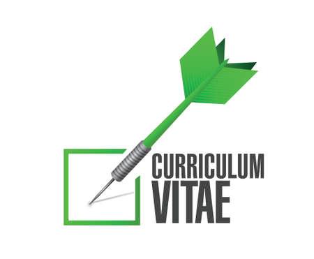 curriculum vitae: cv, curriculum vitae check dart sign concept illustration design over white