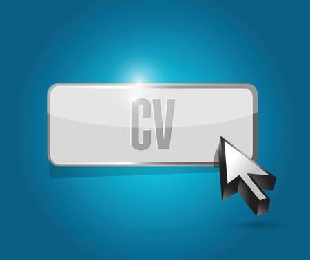 cv, curriculum vitae button sign concept illustration design over blue Vectores