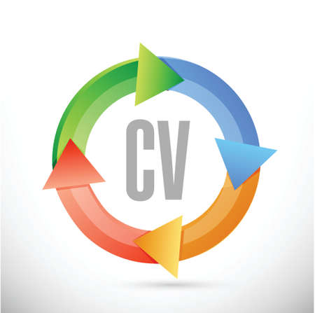 cv, curriculum vitae cycle sign concept illustration design over white