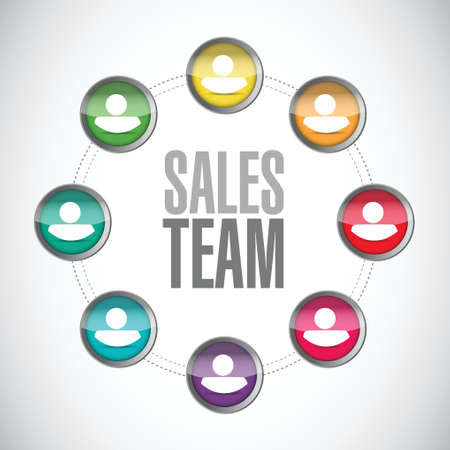 sales team: sales team network sign concept illustration design over white Illustration