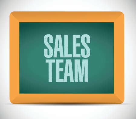 sales team: sales team board sign concept illustration design over white