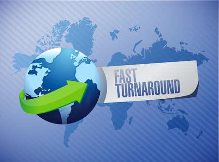 turnaround: fast turnaround globe sign illustration design over blue
