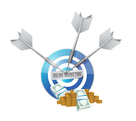 adwords: online marketing target cash sign illustration design over white Stock Photo