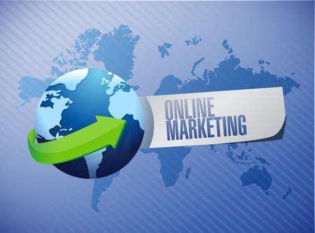 adwords: online marketing globe sign illustration design over blue
