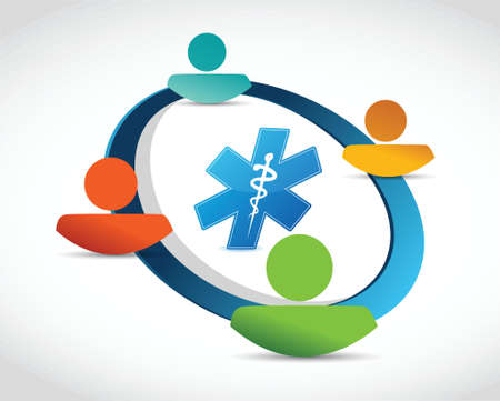community health care: people cycle and medical symbol concept illustration design over white