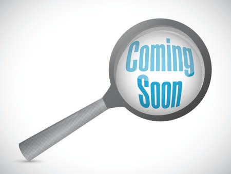 hot announcement: coming soon magnify glass sign concept illustration design over white Stock Photo