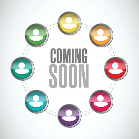 coming soon people sign concept illustration design over white