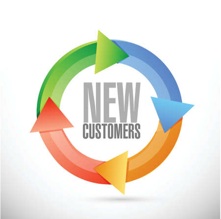 new customer cycle sign concept illustration design over white Stock Photo