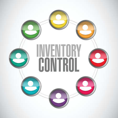 distributor: inventory control people network sign concept illustration design over white Stock Photo