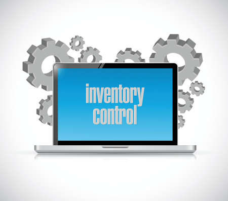 stockroom: inventory control tech computer sign concept illustration design over white