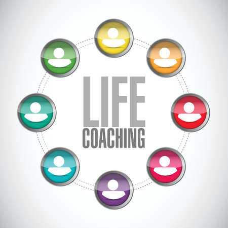 life coaching: life coaching contact network sign concept illustration design over white Stock Photo