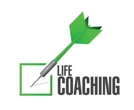 life coaching: life coaching check dart sign concept illustration design over white