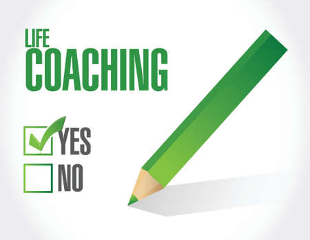 life coaching: life coaching approval sign concept illustration design over white