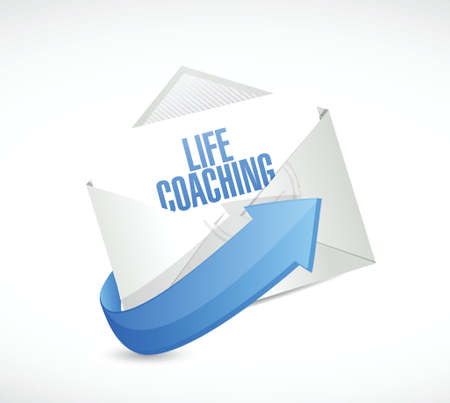 life coaching: life coaching mail sign icon concept illustration design over white Stock Photo